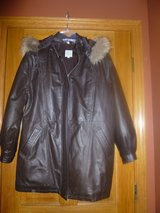 Fox Fur Trimmed Hooded Leather Jacket in Naperville, Illinois