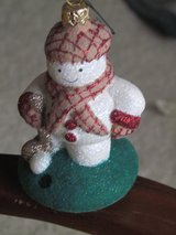 Designer Snowman Golfer Ornament in Orland Park, Illinois